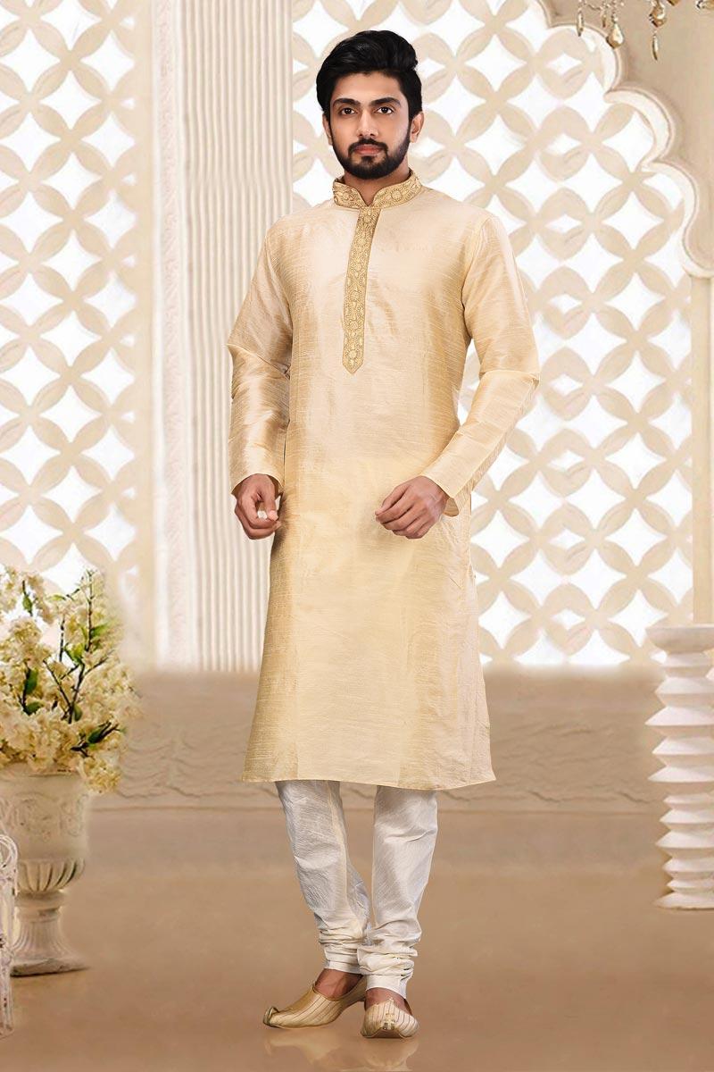 Beige Color Classic Dhupion Fabric Sangeet Wear Mens Kurta Pyjama