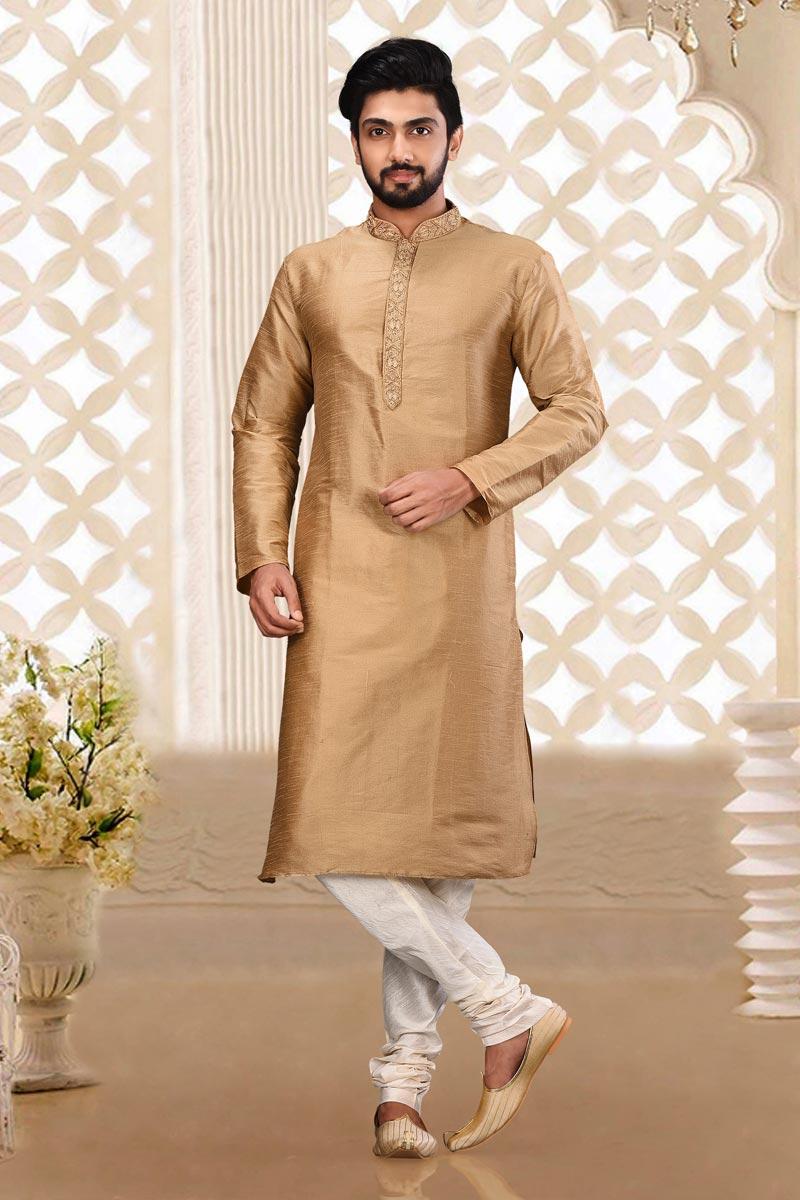 Classic Dhupion Fabric Sangeet Wear Chikoo Color Designer Kurta Pyjama