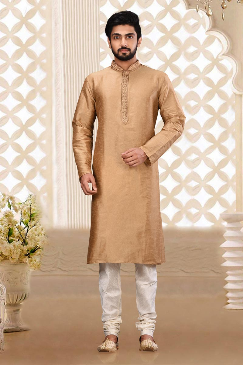 Mens Function Wear Art Silk Fabric Light Brown Color Kurta Pyjama