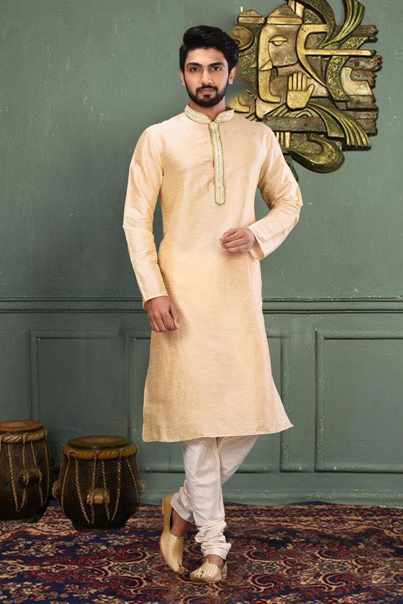 Function Wear Art Silk Fabric Kurta Pyjama In Beige Color