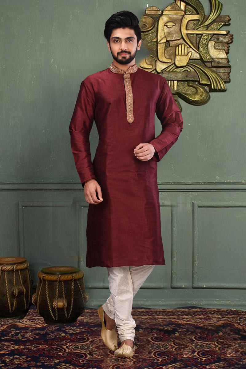 Sangeet Wear Dhupion Fabric Classic Maroon Color Designer Kurta Pyjama