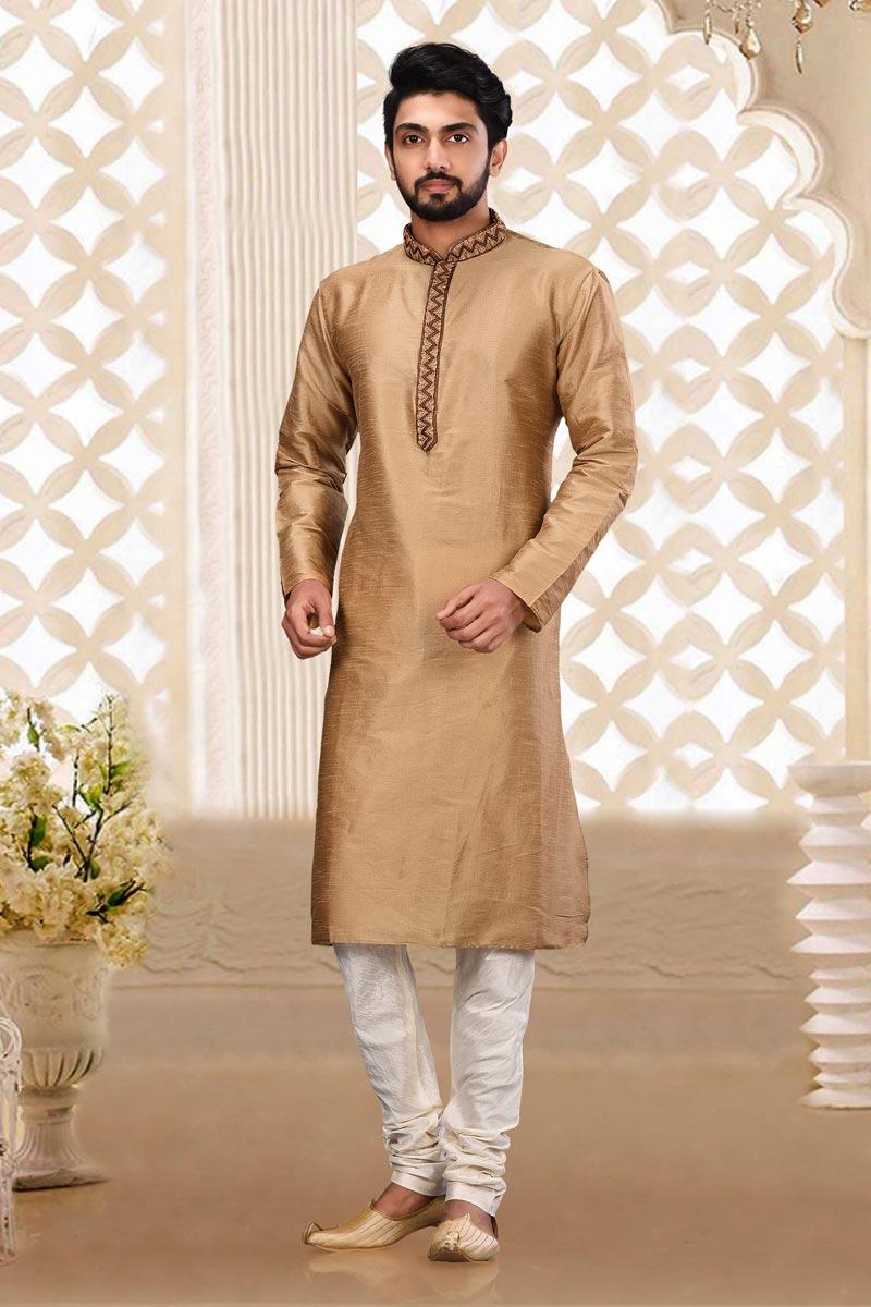 Classic Dhupion Fabric Mens Sangeet Wear Chikoo Color Kurta Pyjama