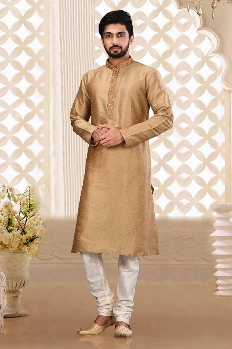 Sangeet Wear Trendy Dhupion Fabric Kurta Pyjama For Men In Chikoo Color