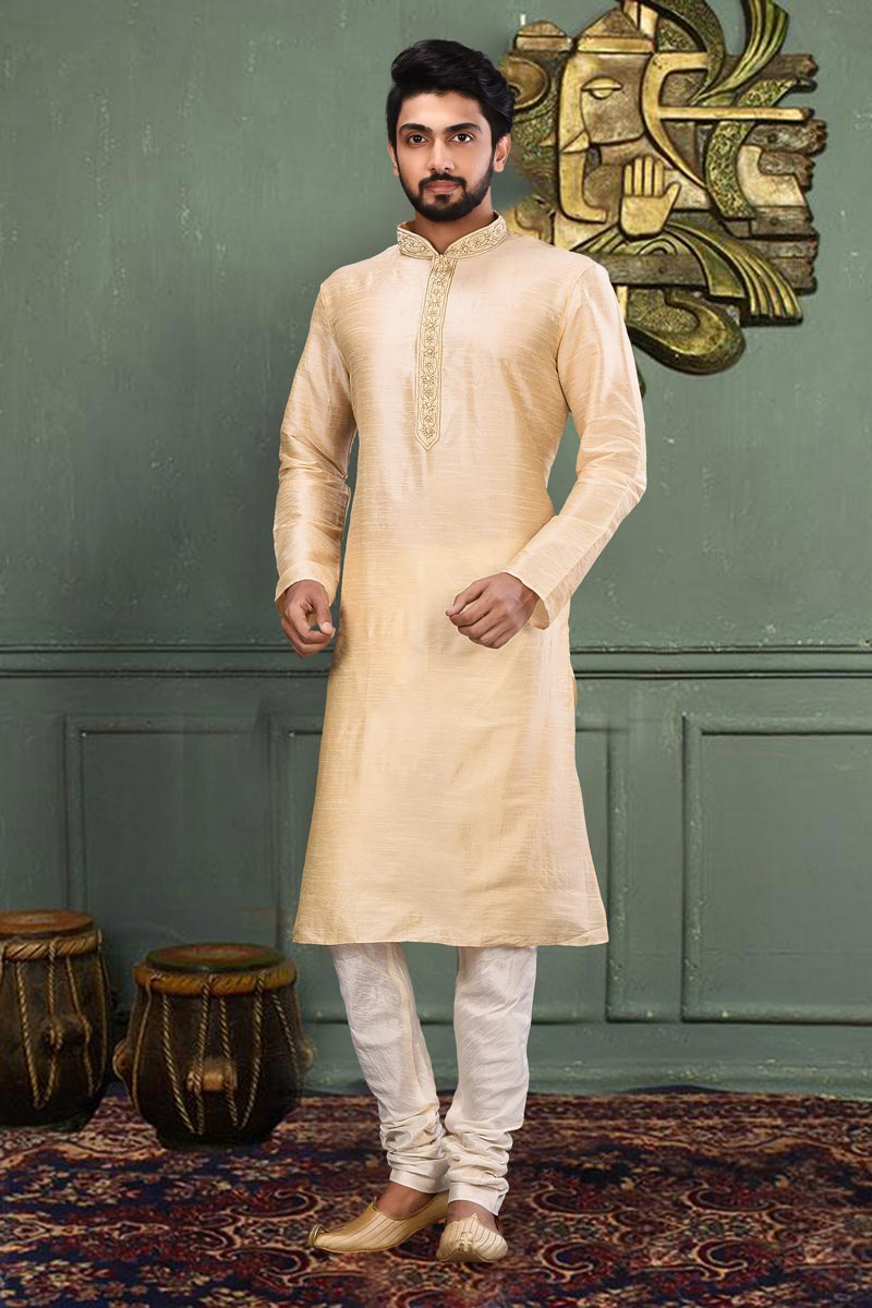 Dhupion Fabric Trendy Beige Color Sangeet Wear Mens Kurta Pyjama