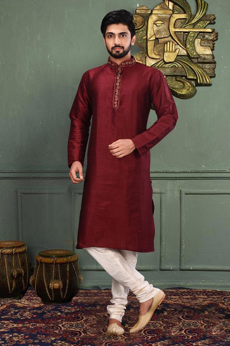 Trendy Maroon Color Sangeet Wear Dhupion Fabric Designer Kurta Pyjama
