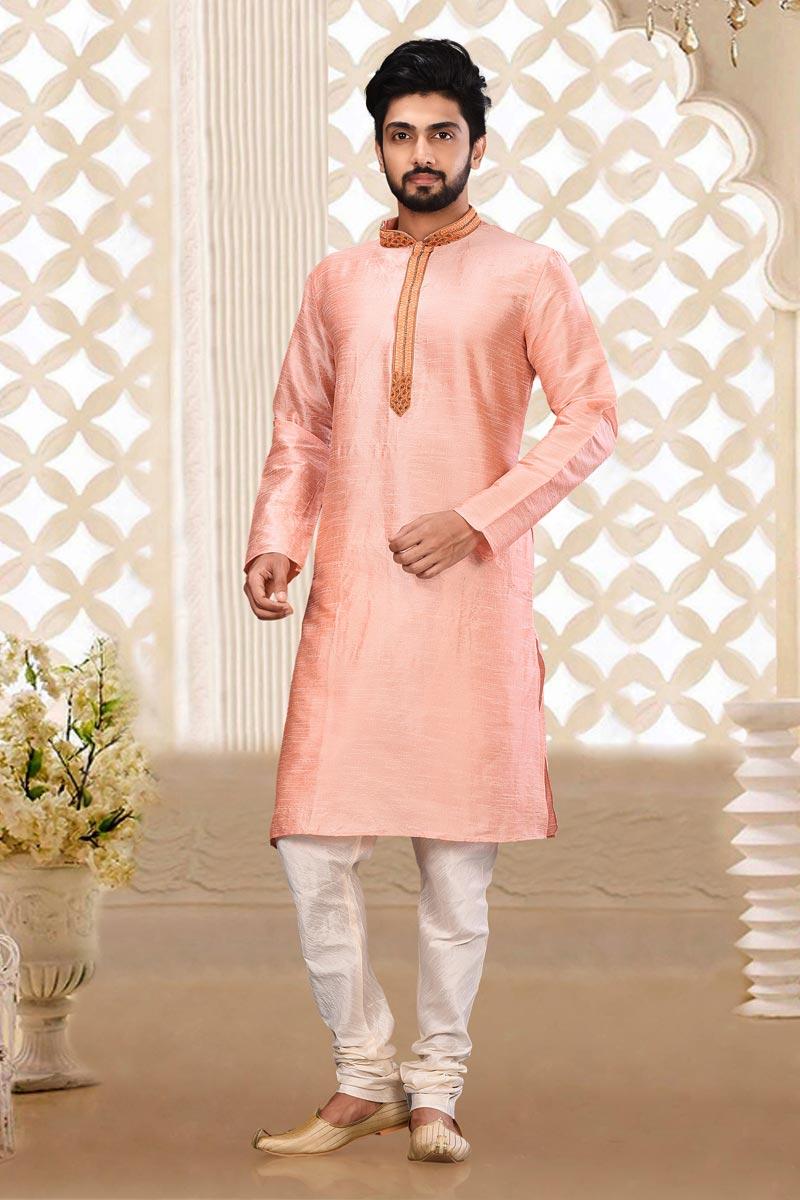 Mens Sangeet Wear Dhupion Fabric Trendy Pink Color Kurta Pyjama