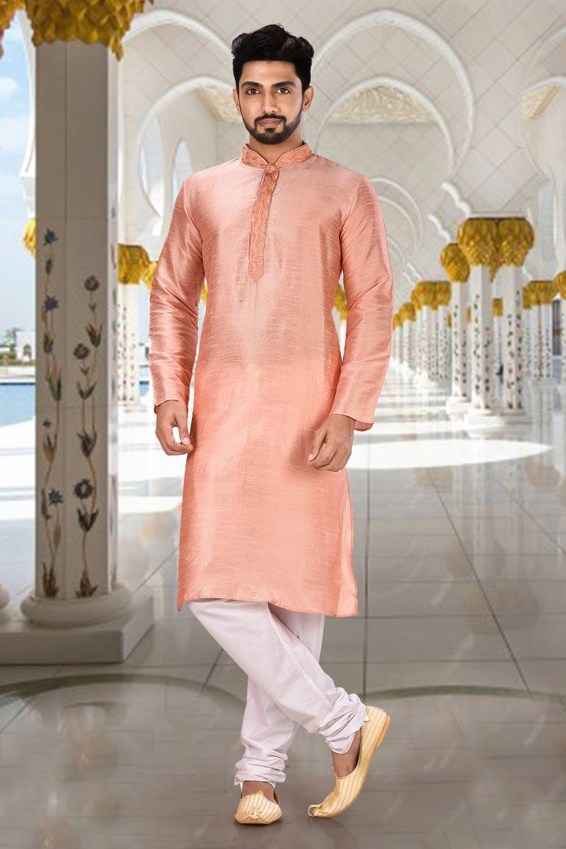 Trendy Pink Color Sangeet Wear Mens Kurta Pyjama In Dhupion Fabric