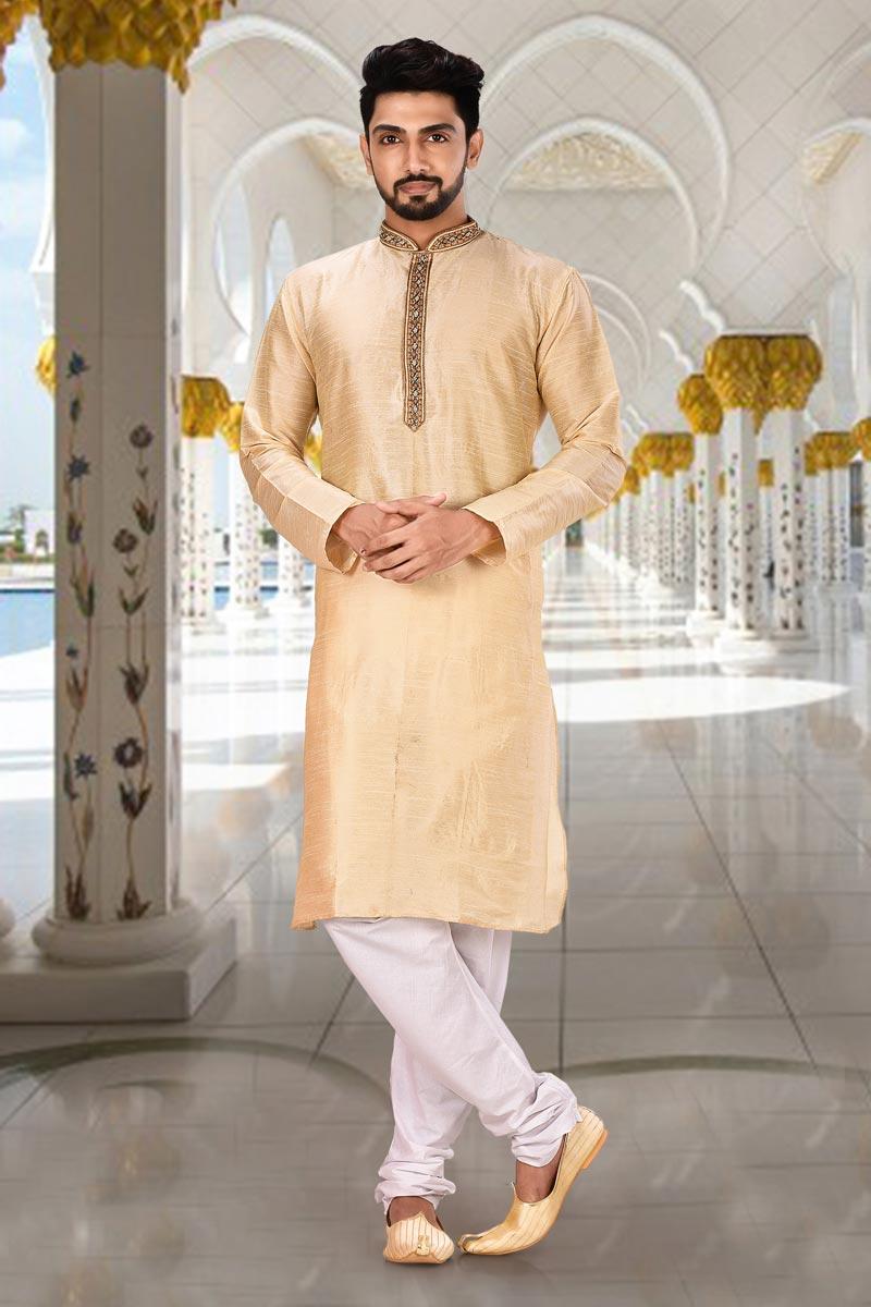 Sangeet Wear Dhupion Fabric Kurta Pyjama In Chikoo Color For Men