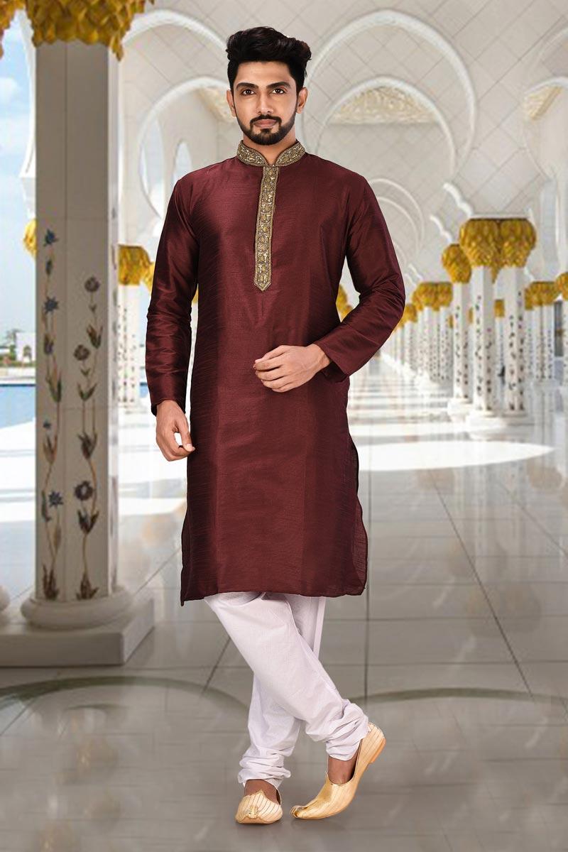 Art Silk Fabric Brown Color Function Wear Kurta Pyjama