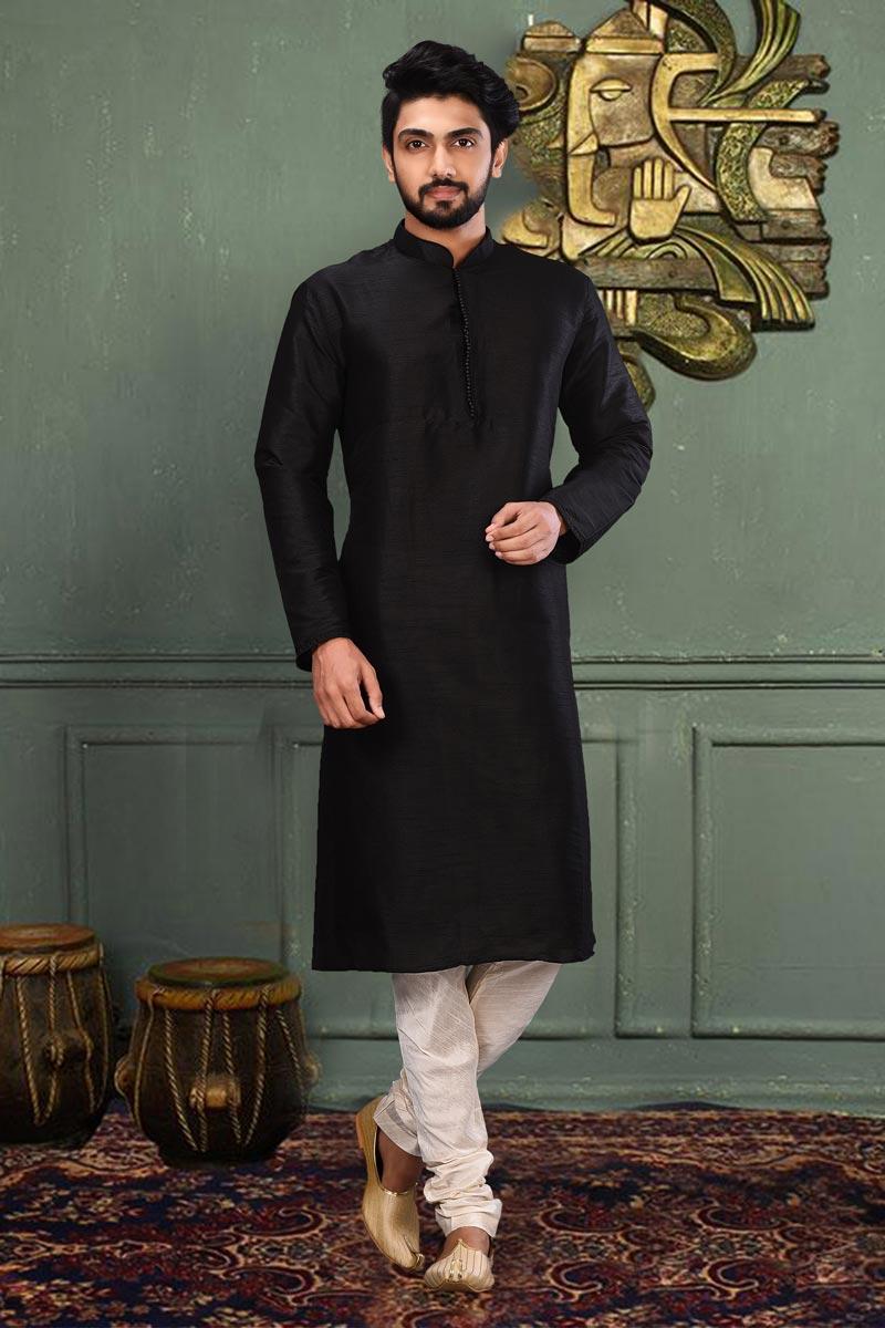 Mens Function Wear Art Silk Fabric Black Color Kurta Pyjama