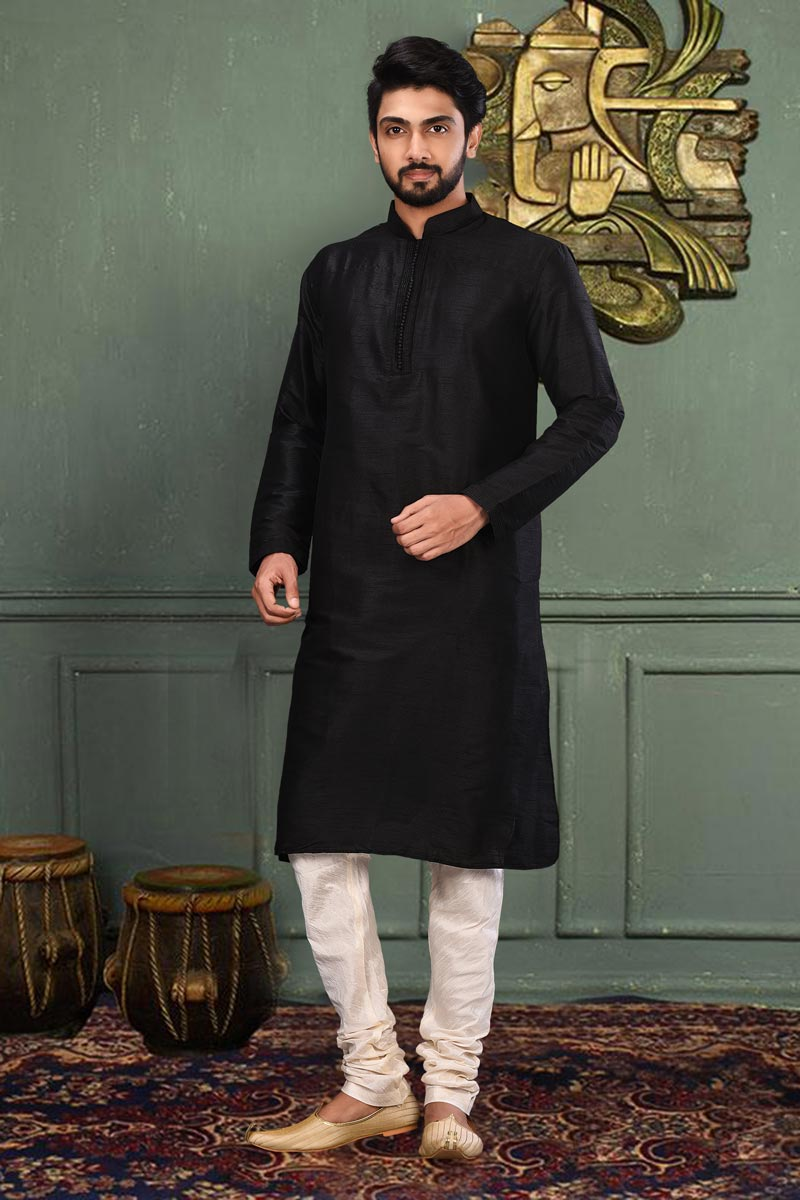 Function Wear Dhupion Fabric Kurta Pyjama In Black Color For Men