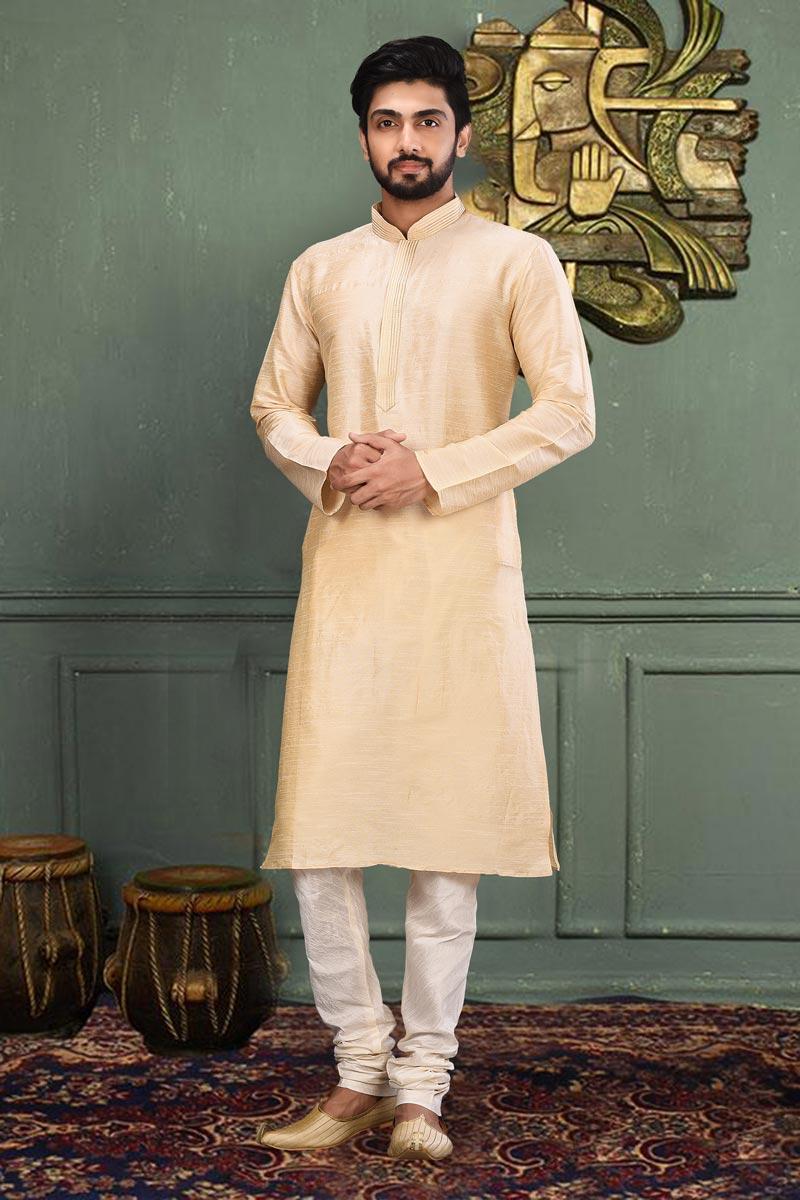 Mens Function Wear Dhupion Fabric Beige Color Kurta Pyjama