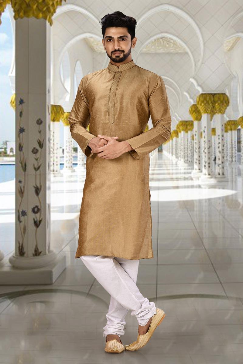 Light Brown Color Art Silk Fabric Sangeet Wear Fancy Kurta Pyjama