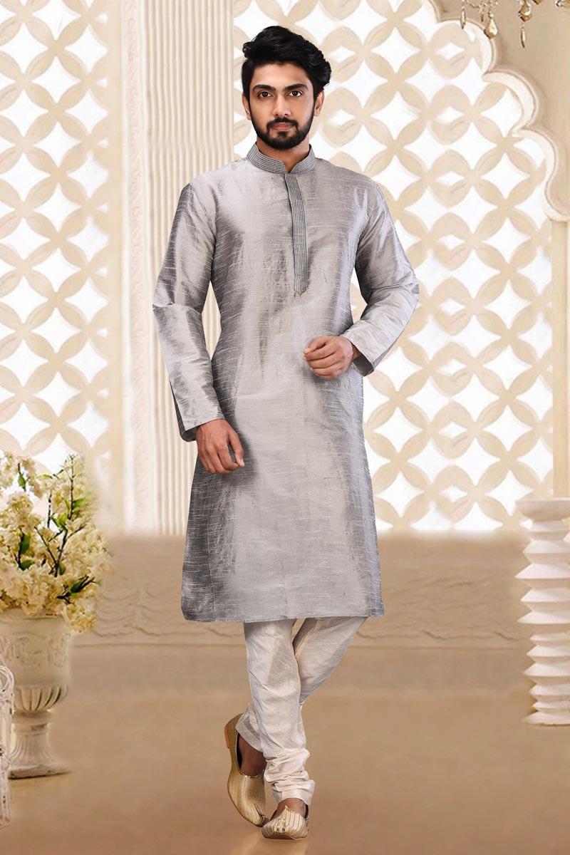 Dhupion Fabric Grey Color Function Wear Kurta Pyjama