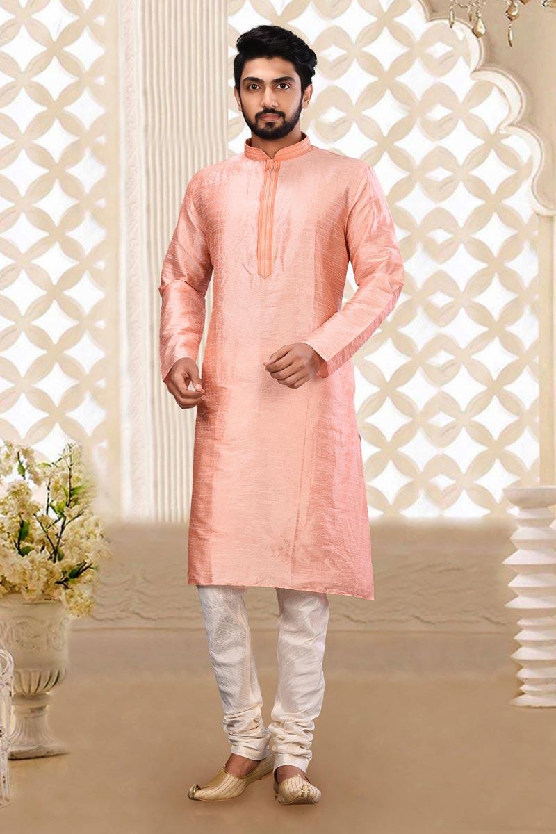Mens Function Wear Dhupion Fabric Pink Color Kurta Pyjama
