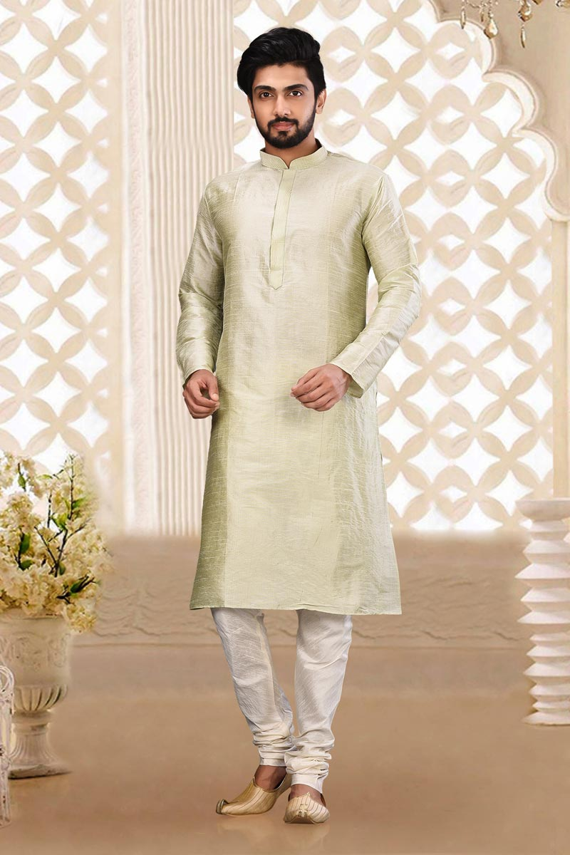 Function Wear Art Silk Fabric Kurta Pyjama In Cream Color