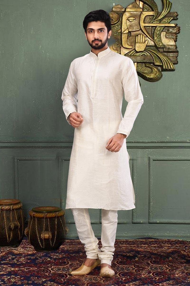Mens Function Wear Dhupion Fabric Off White Color Kurta Pyjama