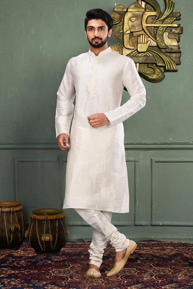 Off White Color Dhupion Fabric Function Wear Fancy Kurta Pyjama