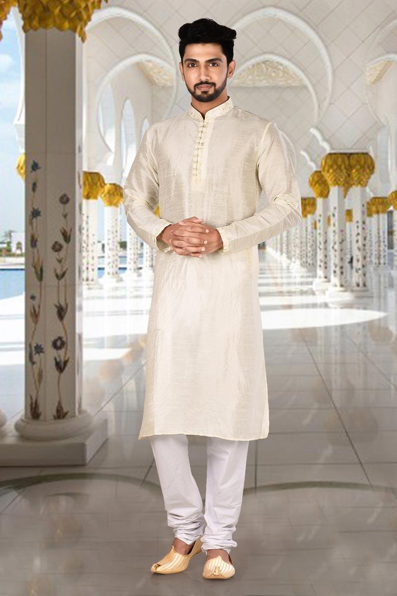 Dhupion Fabric Festive Wear Stylish Kurta Pyjama In Beige Color