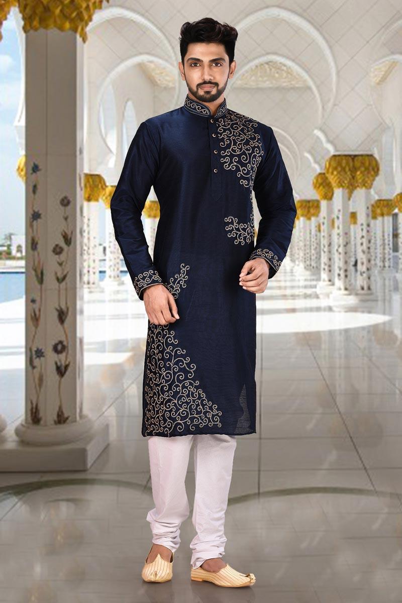 Navy Blue Color Art Silk Fabric Function Wear Kurta Pyjama