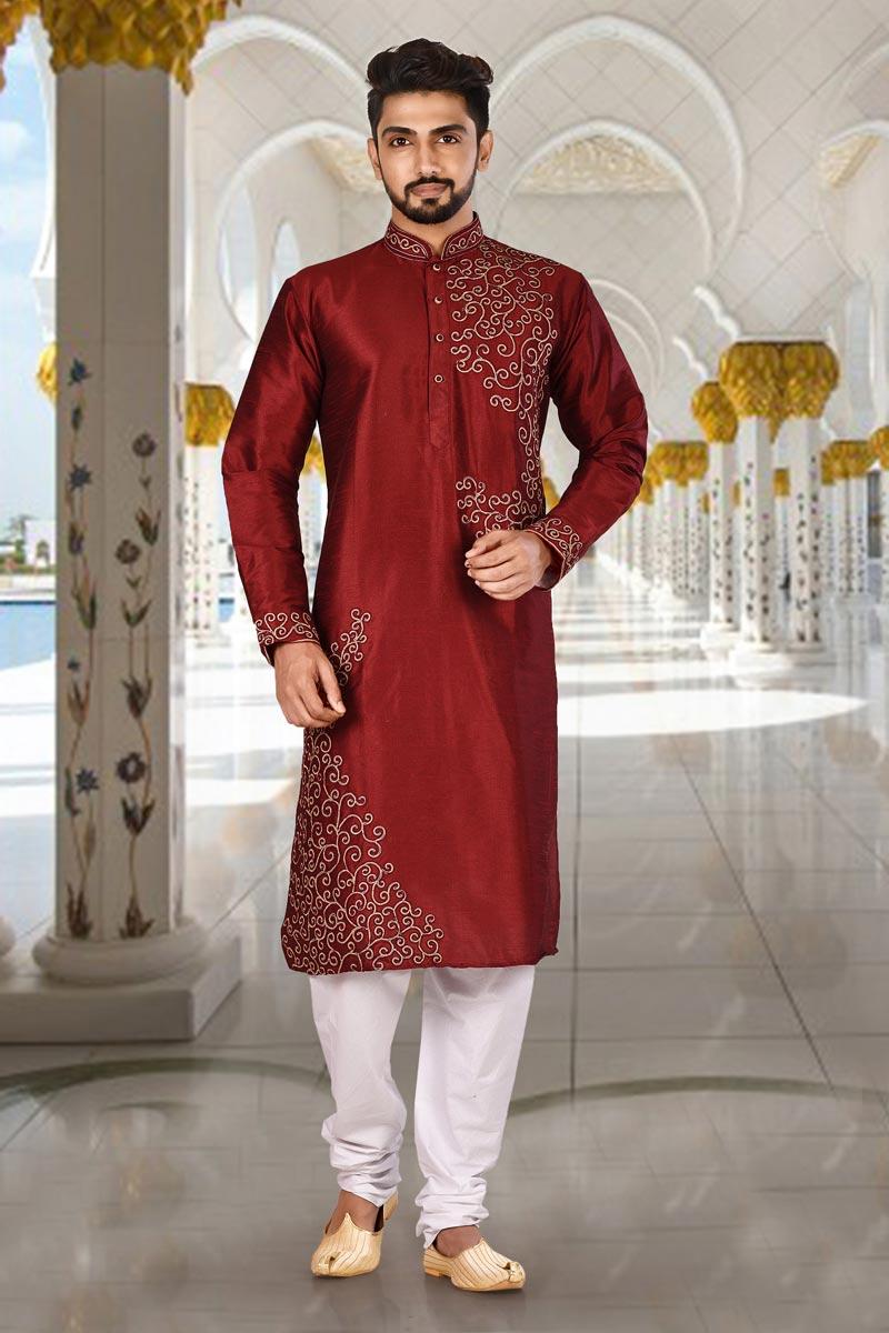 Dhupion Fabric Festive Wear Kurta Pyjama In Red Color