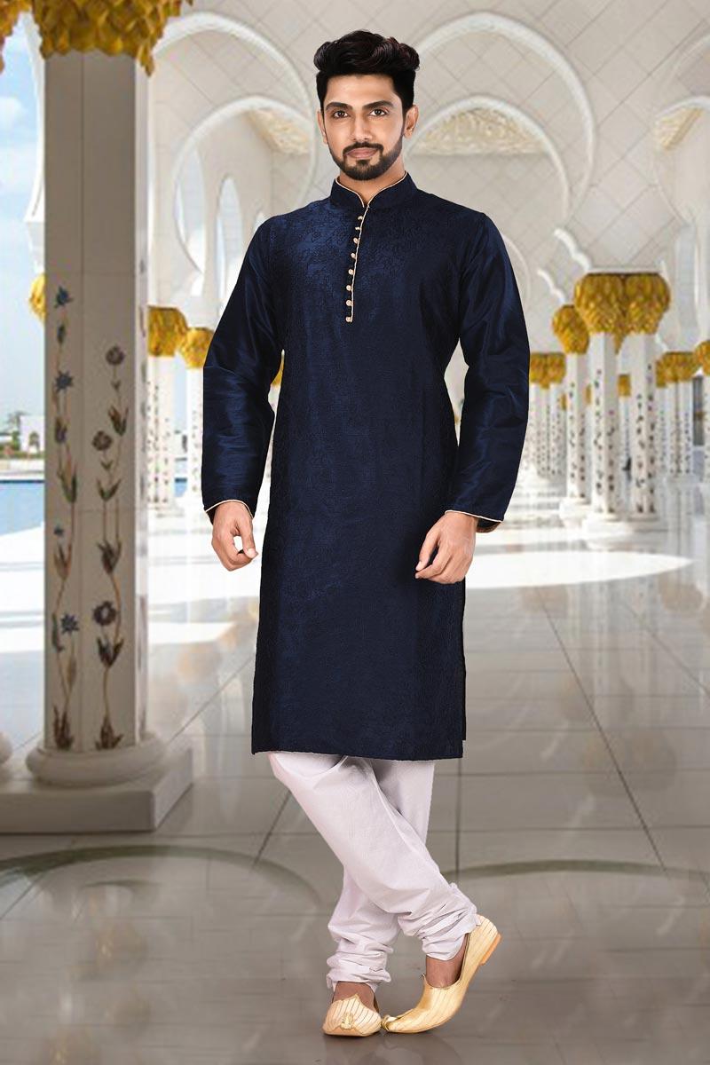Sangeet Wear Kurta Pyjama In Navy Blue Color For Men