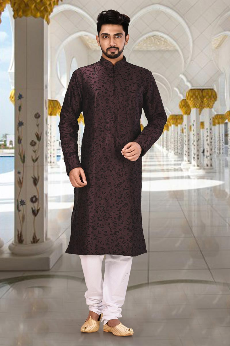 Sangeet Wear Kurta Pyjama In Wine Color For Men