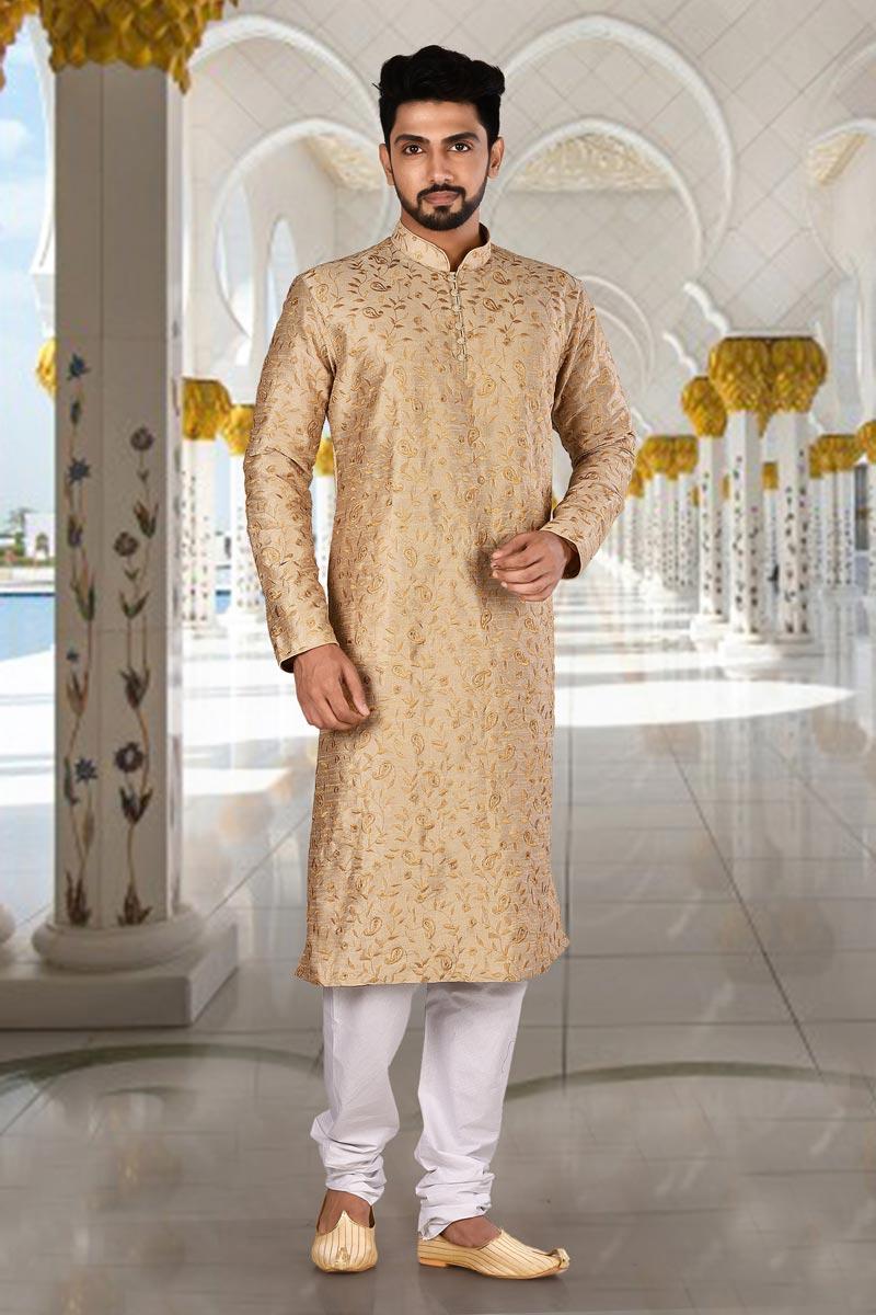 Beige Color Reception Wear Art Silk Fabric Kurta Pyjama