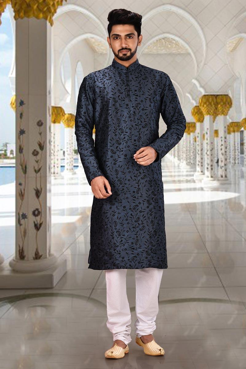 Mens Function Wear Navy Blue Color Kurta Pyjama