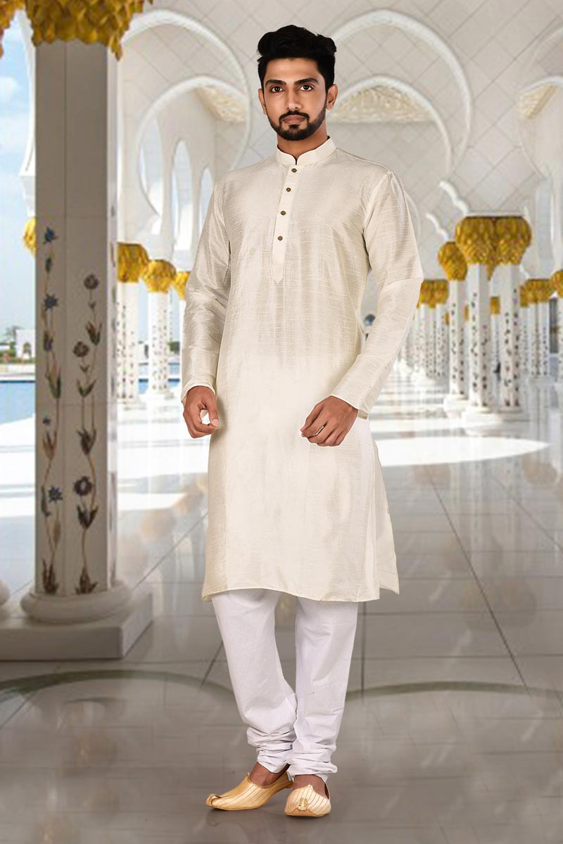 Function Wear Kurta Pyjama In Off White Color For Men