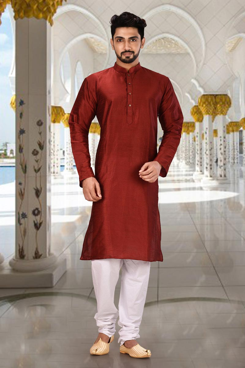 Mens Function Wear Red Color Kurta Pyjama