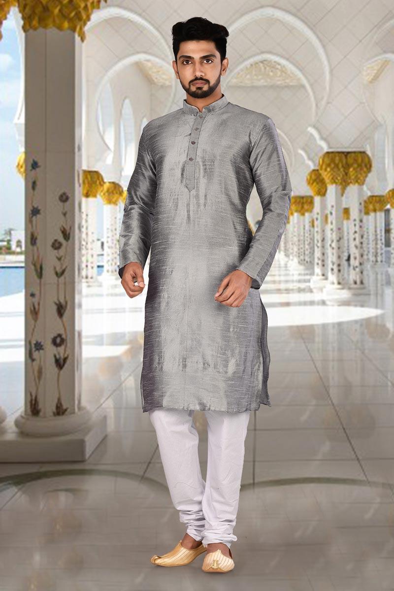 Grey Color Function Wear Fancy Kurta Pyjama