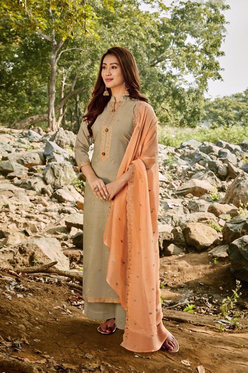 Chanderi Fabric Party Wear Palazzo Salwar Suit
