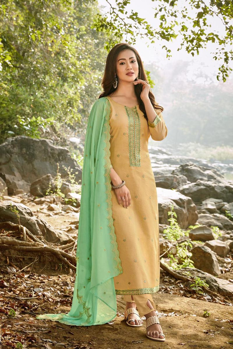 Embroidery Work Yellow Color Chanderi Fabric Salwar Suit