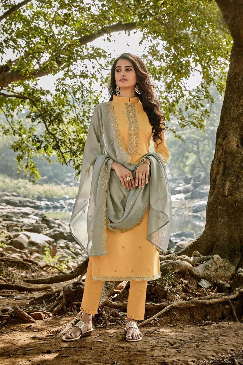 Yellow Color Embroidered Chanderi Fabric Party Wear Salwar Kameez