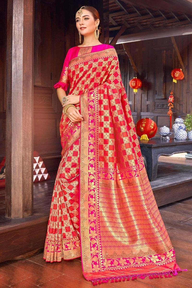 Red Color Designer Weaving Work Saree In Silk Fabric