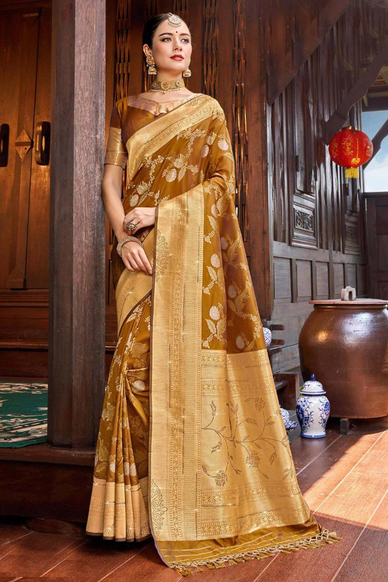 Silk Fabric Party Wear Weaving Work Saree In Coffee Color
