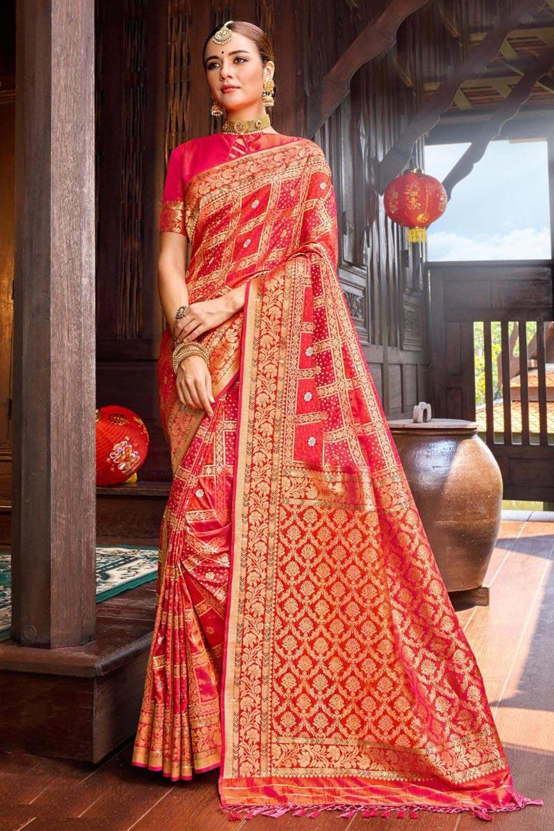 Pink Color Silk Fabric Festive Wear Weaving Work Saree