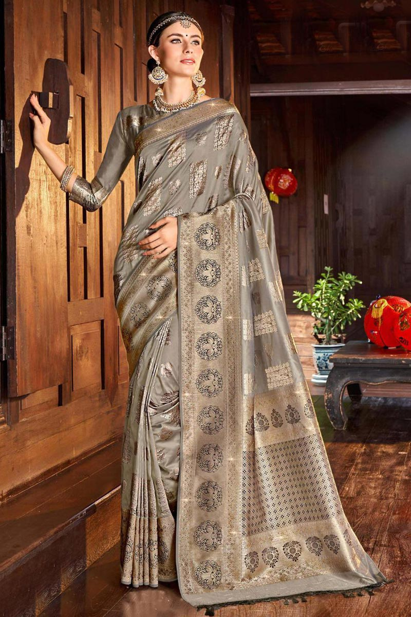 Grey Color Traditional Weaving Work Saree In Silk Fabric