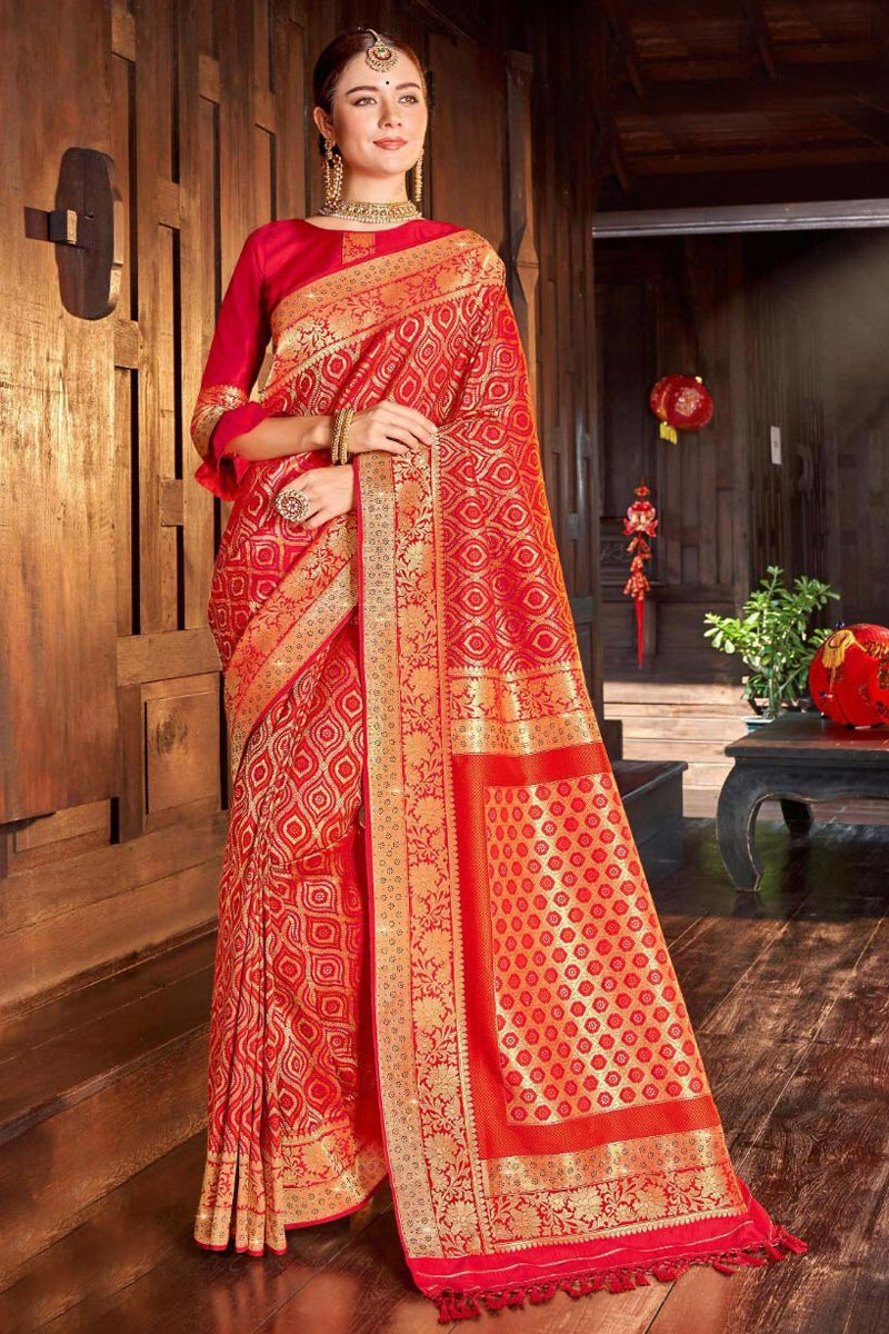 Silk Fabric Red Color Designer Weaving Work Saree