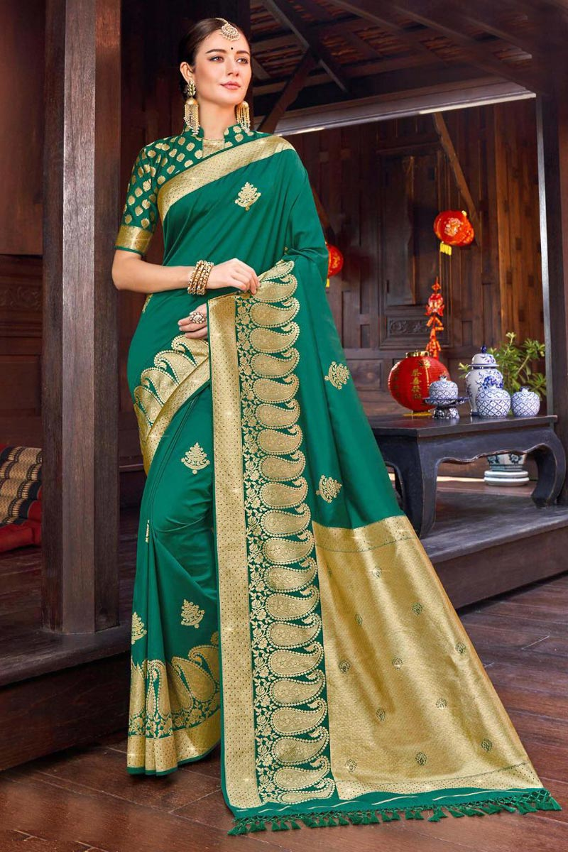 Teal Color Party Wear Weaving Work Saree In Silk Fabric