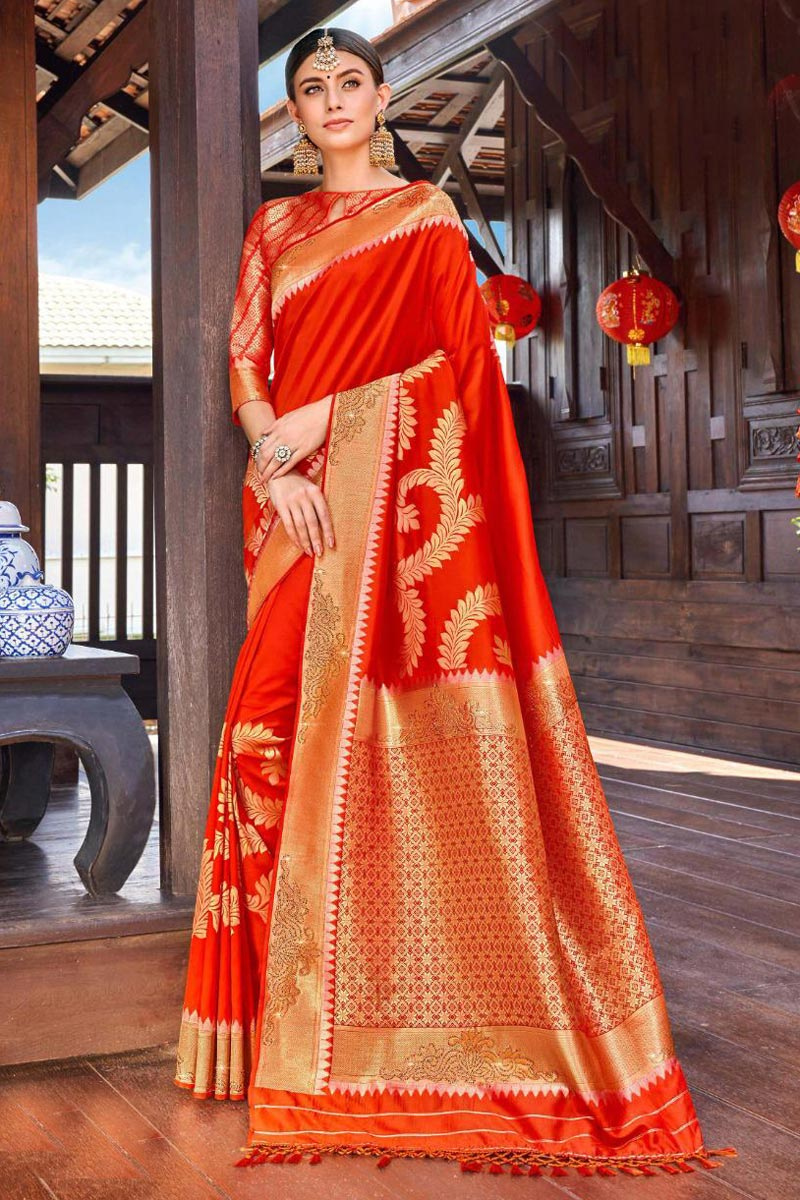 Silk Fabric Party Wear Weaving Work Saree In Red Color