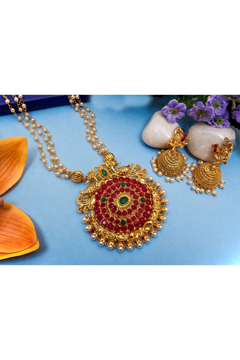 Golden Color Festive Wear Beguiling Alloy Metal Necklace Set