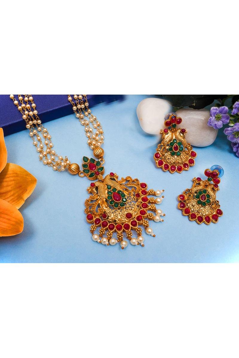 Festive Wear Beguiling Alloy Metal Golden Color Necklace Set