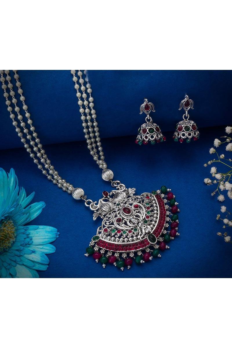 Silver Color Festive Wear Beguiling Oxidized Metal Necklace Set