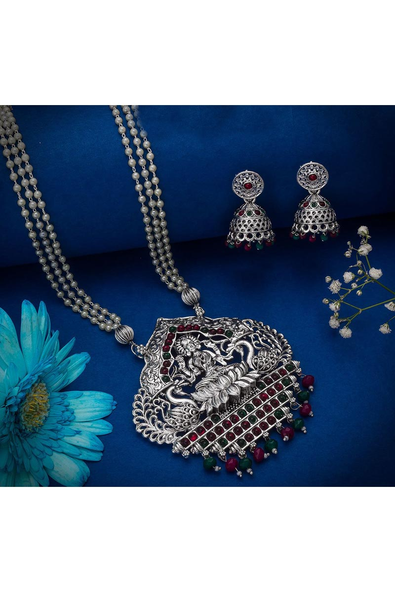 Beguiling Silver Color Festive Wear Oxidized Metal Necklace Set