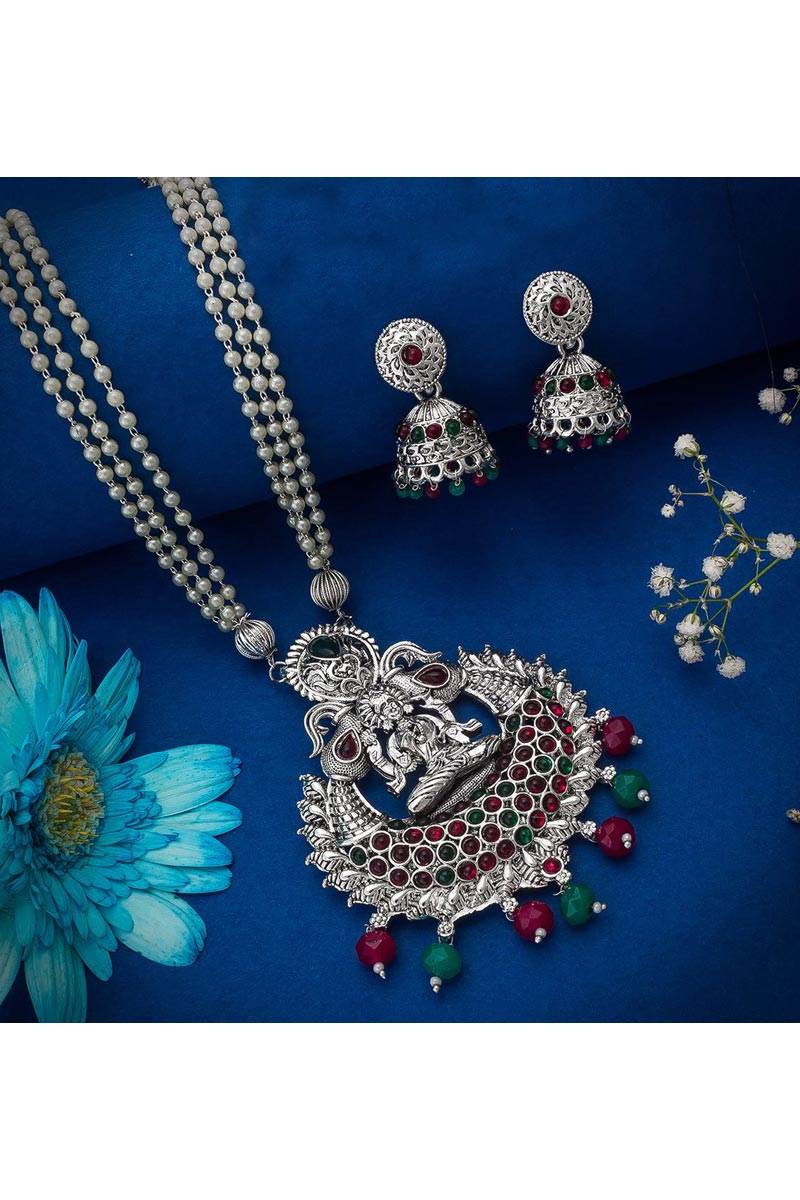 Festive Wear Beguiling Oxidized Metal Silver Color Necklace Set