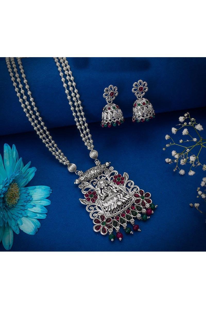 Silver Color Oxidized Metal Festive Wear Beguiling Necklace Set