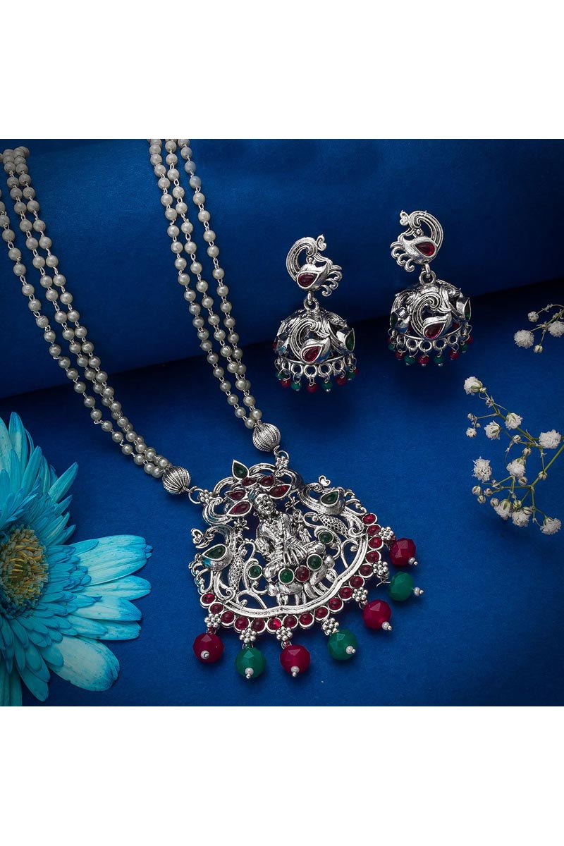 Festive Wear Beguiling Oxidized Metal Necklace Set In Silver Color