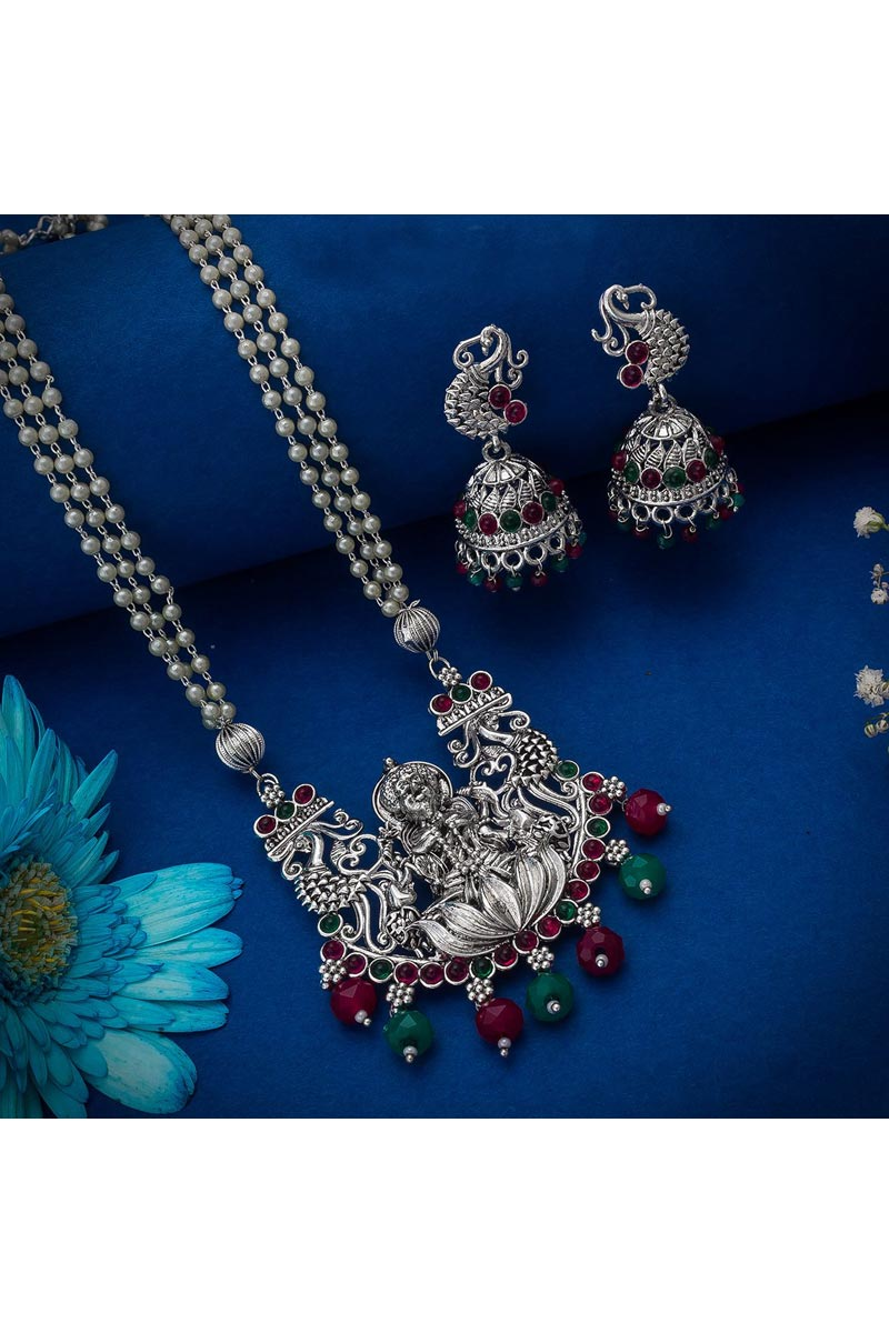 Silver Color Festive Wear Trendy Oxidized Metal Necklace Set